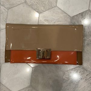 Aldo brown beige coral clutch with gold chain